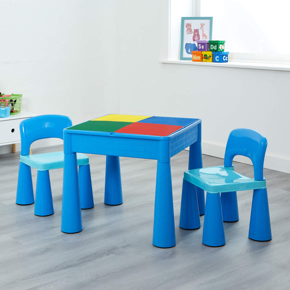Sturdy solid plastic provides the table and 2 chairs with longevity