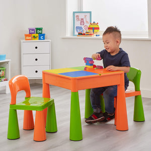This funky designed multi purpose table and 2 chairs set is ideal for young children to sit at and enjoy play
