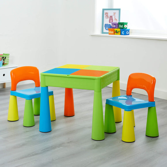 A children's 5-in-1 Table & 2 Chairs Set, Sand & Water Pit with lego board too
