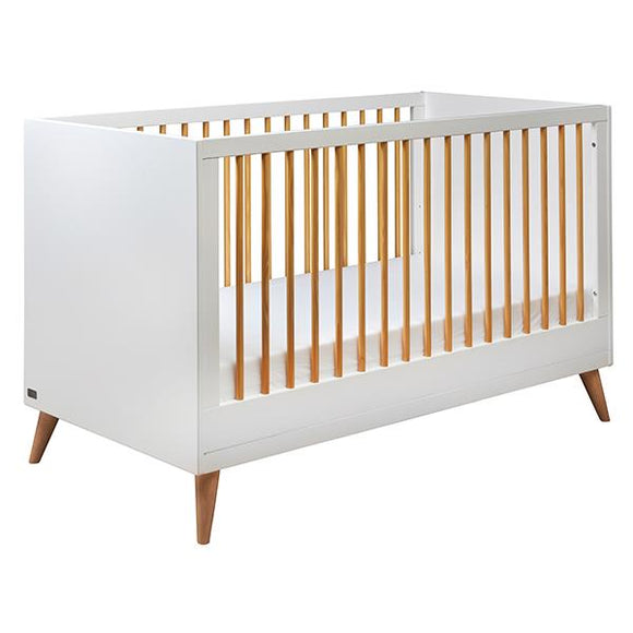 Melody 2-in-1 Cot & Toddler Bed | Snowdrop White & Corkscrew Pine