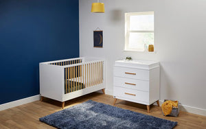 Melody Nursery Collection | 2-in-1 Cot & Toddler Bed | Chest Of Drawers | Optic White & Corkscrew Pine