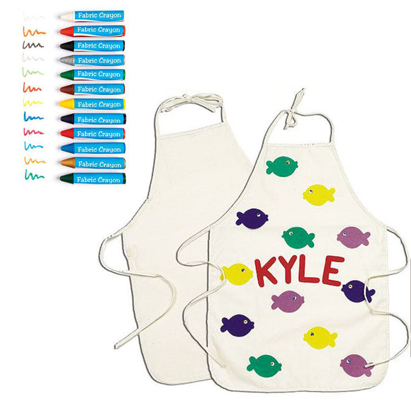 Childrens | Kids Design-Your-Own-Apron Kit | 12 Fabric Crayons | 3 years+