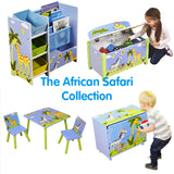 This kids furniture range in an African Safari theme includes storage, toy box, drawers & matching table and chairs set