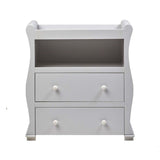 The Alaska Dresser has a beautiful sleigh shape with gentle curves, and is finished in a soft grey colour.