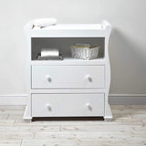 The 2 drawers provide plenty of storage while the open shelf  on this baby changing unit keeps essentials close to hand.