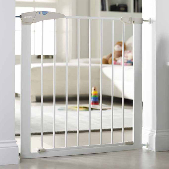 White lindam safety gate, this baby gate is perfect for any household