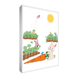 "Colourful & cute Bouncer the Bunny design printed onto different portrait sized canvases with solid front at 1.5"" thick"