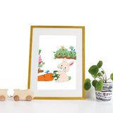 40 x 30cm natural wooden frame with strut & a white mount featuring a colourful bunny rabbit print for bedrooms or playrooms