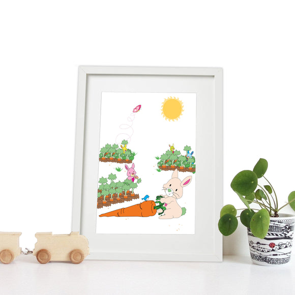 40 x 30cm white wooden frame with strut with a white mount featuring a colourful bunny rabbit print for bedrooms or playrooms