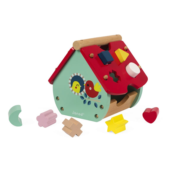 This colourful shape sorter wooden house with clock dial is ideal for learning colours and shapes and introducing time.