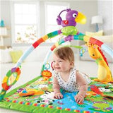 During lay & play time,  hanging activity toys & motion-activated music encourage teeny-tiny  ones to reach, bat & play.