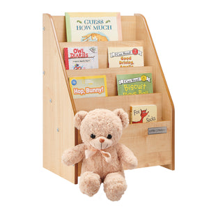 High quality Little Helper Natural Bookcase with 4 staggered shelves at a toddler friendly height.