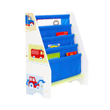 This sling bookcase has four fabric compartments can hold various sized books and is easy to assemble screw fixings