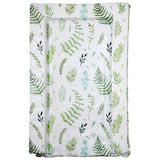 This botanical print baby changing mat features a green watercolour style print of leaves and ferns to compliment any nursery decor