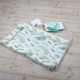 The falling ferns print changing mat is easy to use on your travels whilst bringing comfort to your baby