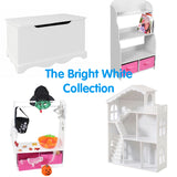 The Bright white collection is ideal for any childs room - tables, toy storage, dress up rails and dolls house bookcases
