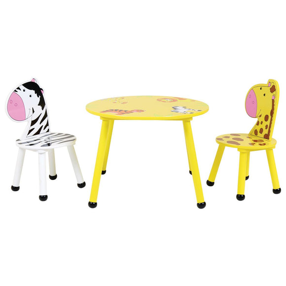 Children's Colourful Jungle Safari Animal Wooden Table & 2 Chairs Set |  3-6 Years+