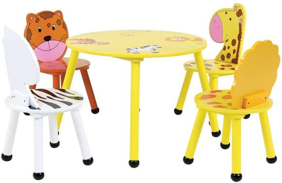 Children's Colourful Jungle Theme Wooden Table & 4 Chairs Set |  3-6 Years+