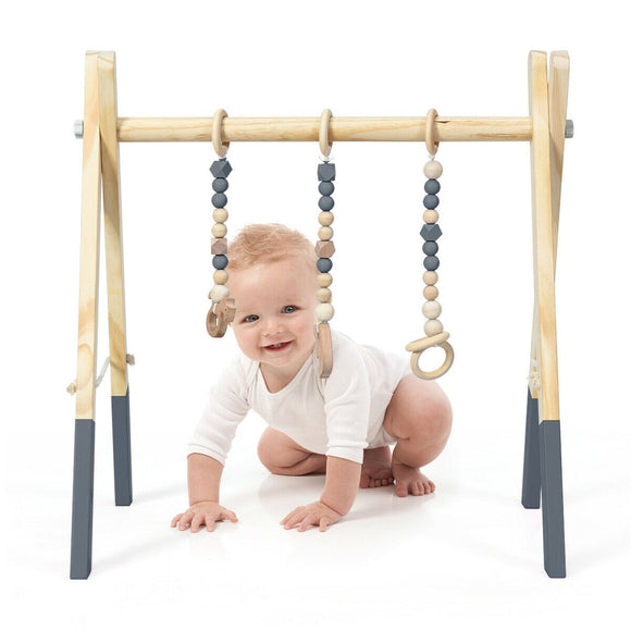 An Eco- Friendly, 100% Natural Wooden Baby Gym cum Foldable Baby Play Mat in a Natural & Grey finish