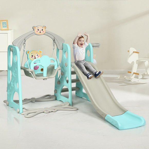 This 3-in-1 eco friendly playground set features a fun slide, a baby swing and a basketball hoop for children aged 1 - 6 years.