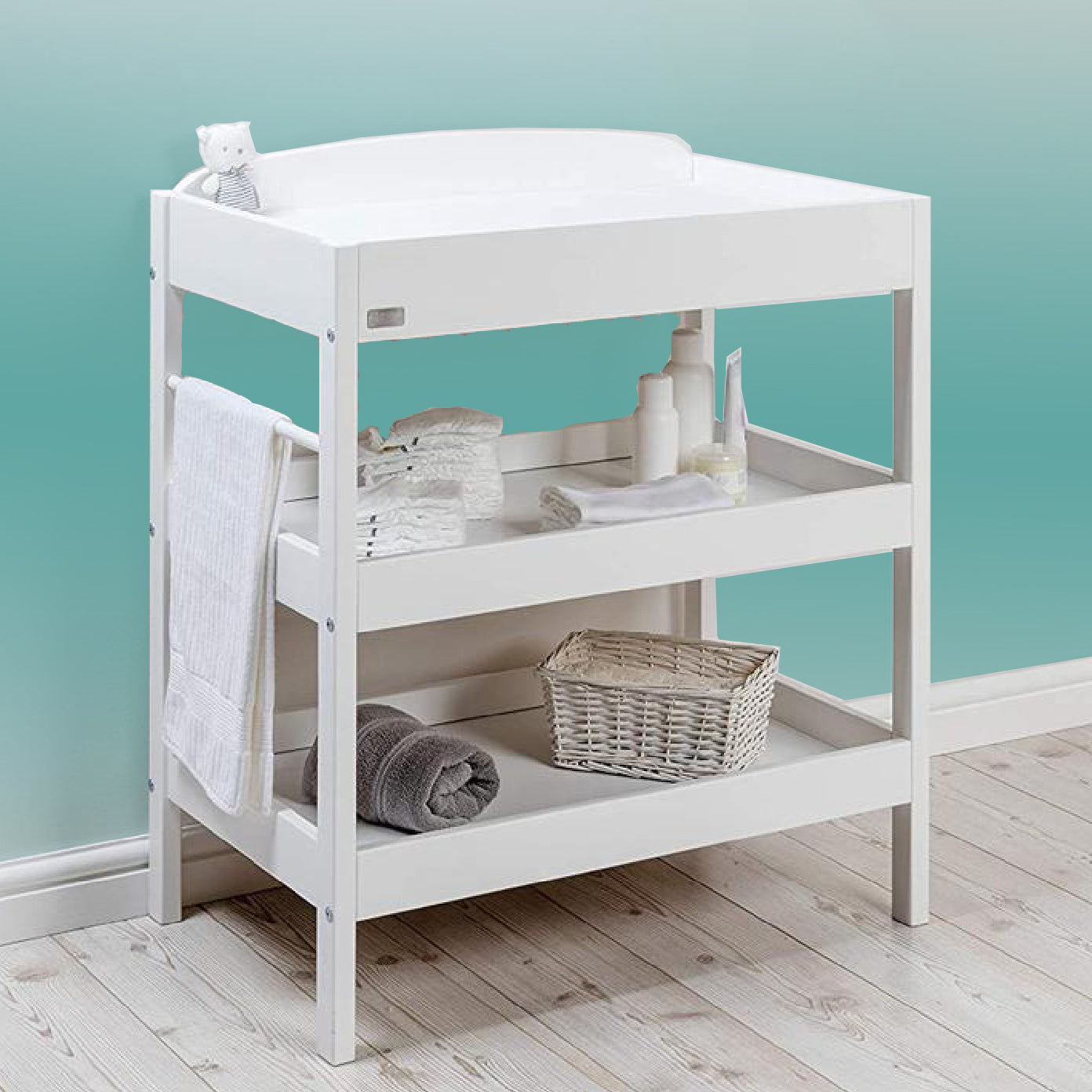 Treasure Wooden Open Baby Changing Unit | Table with Storage | White – www.littlehelper.co.uk