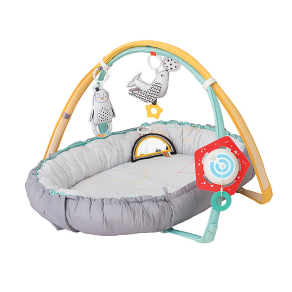 4 in 1 Newborn Cosy Gym - 1) Newborn cosy mat. 2) Interactive baby gym. 3) Tummy time helper. 4) A full sized mat.