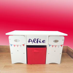 Kids Compact Wooden Table and Chairs Set with Red Large Storage Drawer | White | Personalised Option