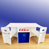 Kids Compact Wooden Table and Chairs Set with Blue Large Storage Drawer | White | Personalised Option