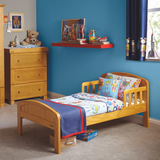 toddlers first bed with security wooden rails