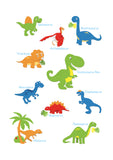 Colourful dinosaur design with each dinosaur's names available in a range of different sizes, printed onto thick matt paper