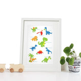 40 x 30cm white wooden frame with strut with a white mount featuring a colourful dinosaur print for bedrooms or playrooms.