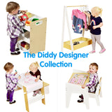 This collection of furniture includes a storage unit, dress up station, table and chair set and art station play table
