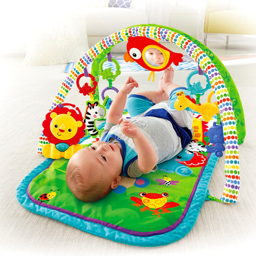 Portable and colourful baby gym that keeps your little one busy with toys, sound and music