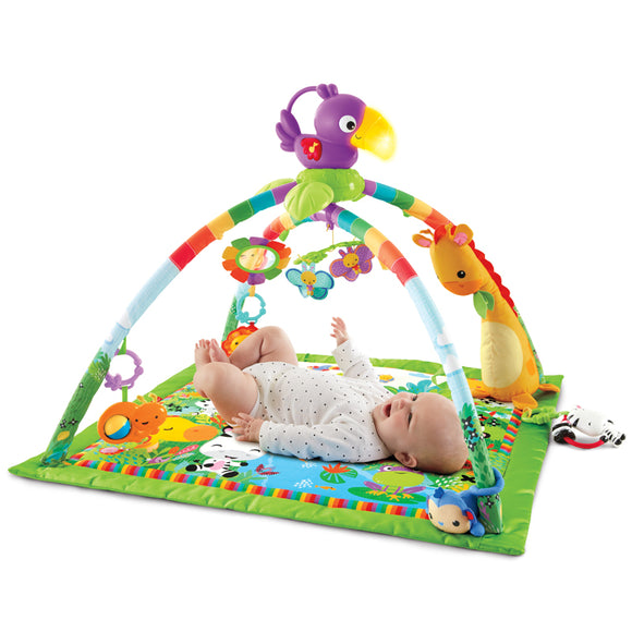 Deluxe Multi Activity Baby Play Mat & Baby Gym with 3 play settings and more than 10  toys  & activities.