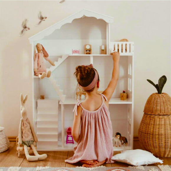 Beauitful montessori dollhouse and bookcase for every little homemaker