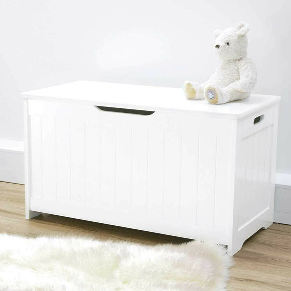 Childrens Large Wooden Toy Box with Slow Release Hinge | Ottoman | Blanket Box | White 80cm long x 45 x 40cm