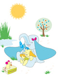 Colourful  & cute mummy and baby elephant design available in a range of different sizes, printed onto thick matt paper