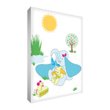 "Colourful & cute mummy and baby elephant design printed onto different portrait sized canvases with solid front at 1.5"" thick"