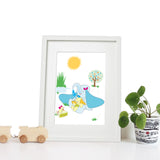 40 x 30cm white wooden frame with strut with a white mount featuring a colourful elephant print for bedrooms or playrooms