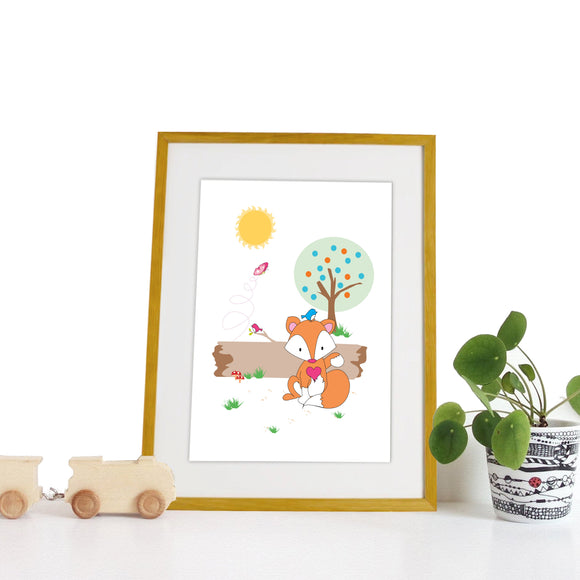 40 x 30cm natural wooden frame with strut with a white mount featuring a colourful fox print for bedrooms or playrooms