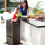 Little Helper FunPod learning tower in black. Parent and child bonding in your tot's own fun pod kitchen tower.