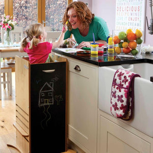 Little Helper FunPod learning tower with blackboard panels. Parent & child bonding in your tot's own fun pod kitchen tower.