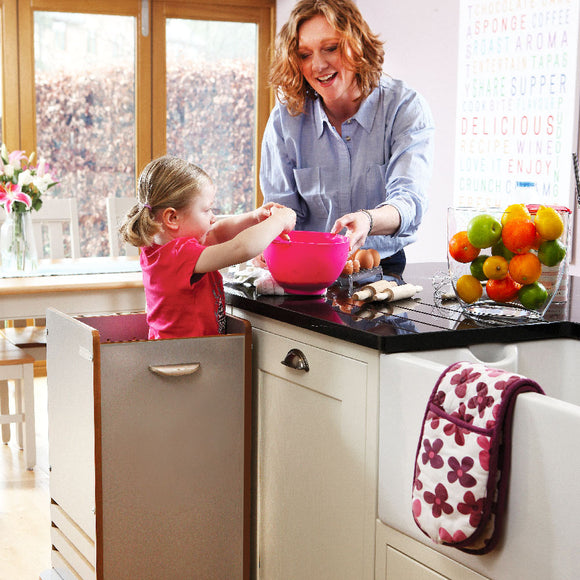 Our new dove grey FunPod kitchen learning tower with five adjustable height settings for children from walking age to 5 years old