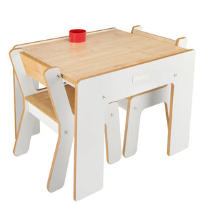 Little Helper FunStation kids white wooden table & 2 chairs set with chairs fitting comfortably under the table when not used