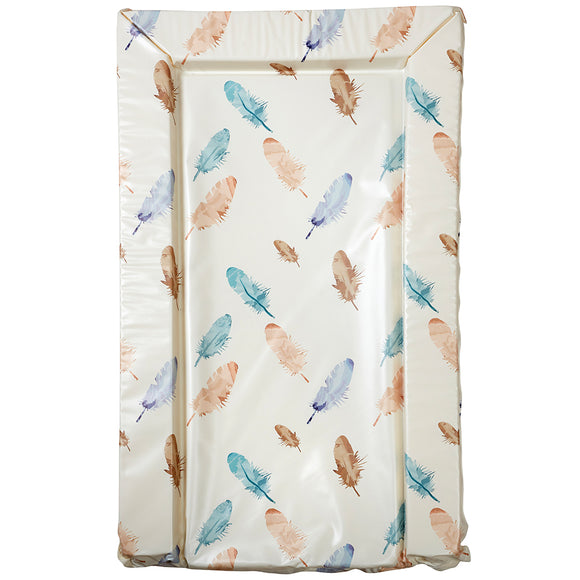 This baby changing mat features a watercolour style print of feathers in a palette of warm blue and tan tones.