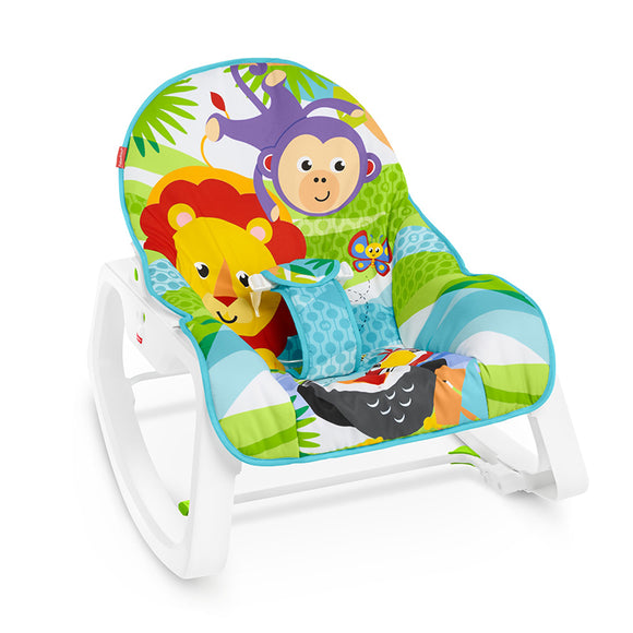 This super cute and colourful Grow-with-Me Rocker starts out as a baby rocker or infant seat with a bat-at overhead toy bar