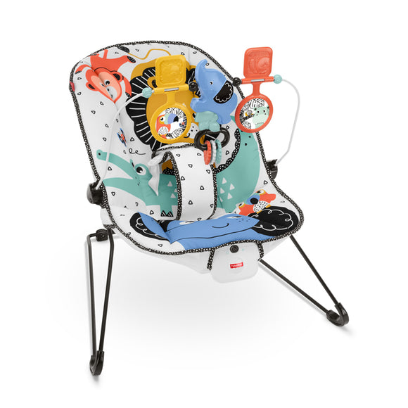 This Jungle Fun Fisher Price Baby Bouncer gently bounces along to baby's natural movements and can be used from birth.
