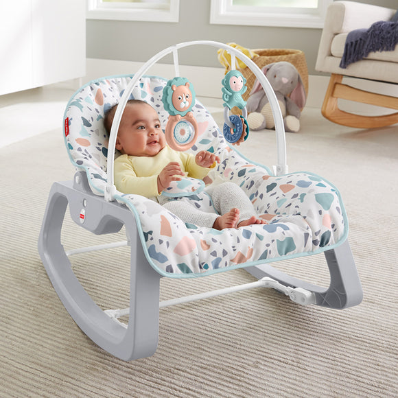 This lovely Grow-with-Me Baby Rocker starts out as a baby rocker or infant seat with a bat-at overhead toy bar