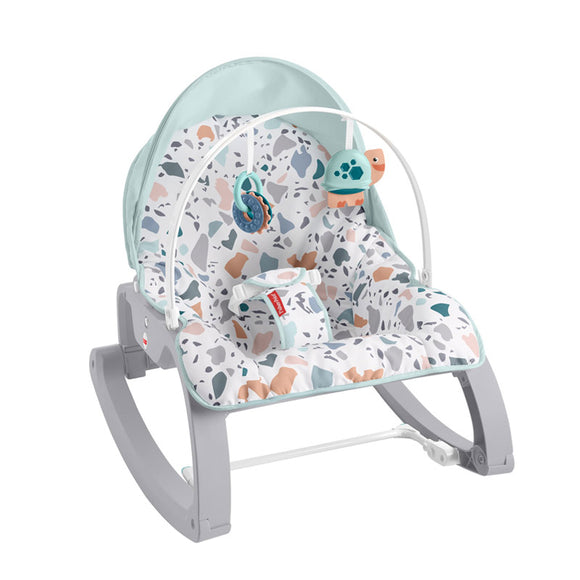 This is the deluxe Fisher Price baby rocker, chair and toddler rocking chair with overhead canopy, harness and toy bar.