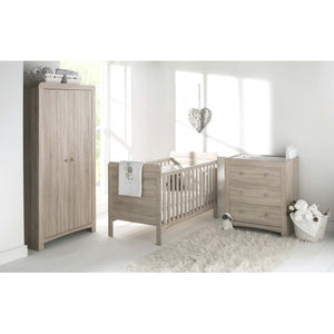 The classic Silkworm nursery collection set includes pieces of a cot bed, wardrobe and wardrobe